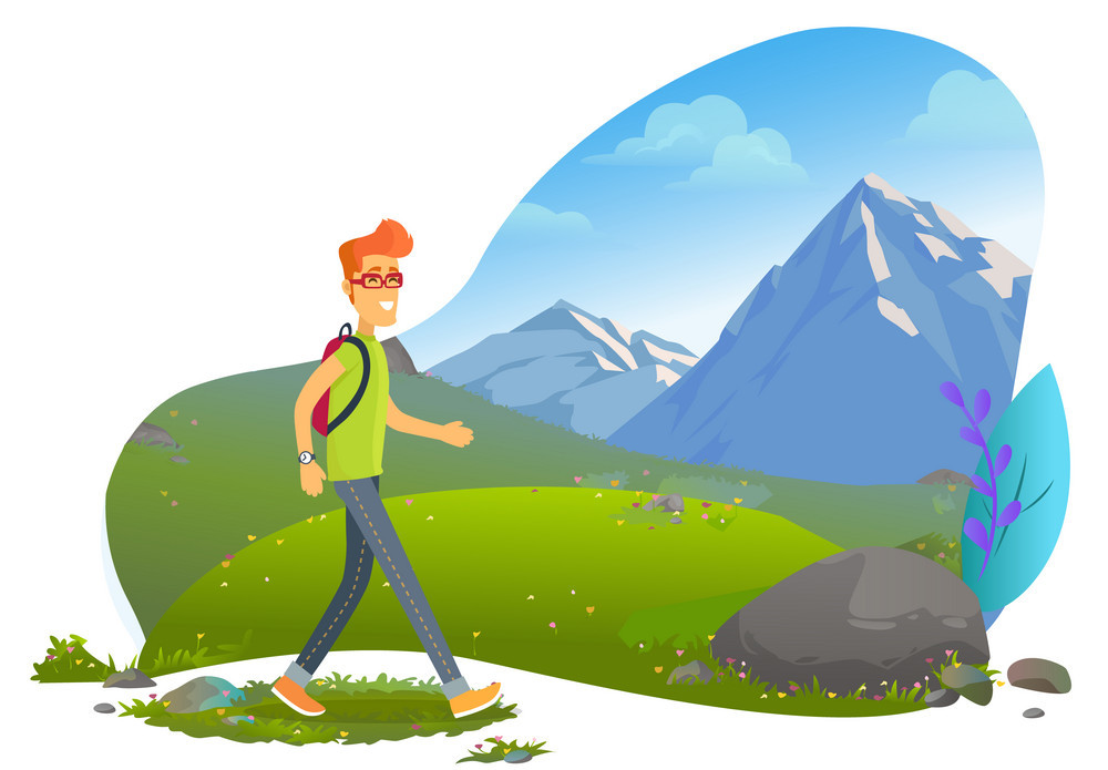 Mountain Tourism, Hiker with Backpack, Rock Vector